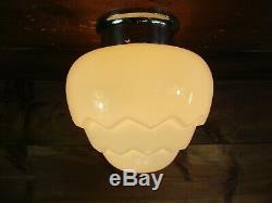Antique VTG Deco Milk Opal Glass Light Fixture REWIRED Stepped Egg Artichoke E8