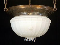 Antique Victorian Brass Bronze Hanging Light Fixture Chandelier Milk Glass Globe