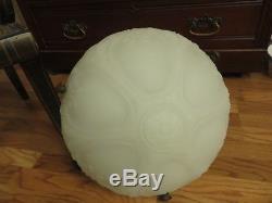 Antique Victorian Ceiling Light Fixture Chandelier Milk Glass Dome Bowl Floral