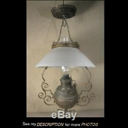 Antique Victorian Kerosene Brass Hanging Library Lamp White Milk Glass Shade