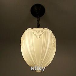 Antique Victorian Milk Glass Globe Brass Hanging Ceiling Pendant Light REWIRED