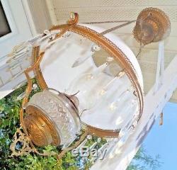 Antique Victorian Milk Glass Shade Jeweled Plume Atwood Kerosene Hanging Lamp