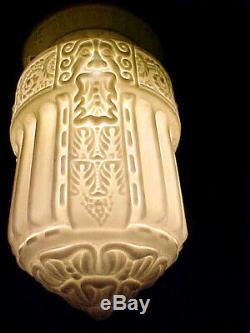 Antique Victorian Mythological Face Milk Glass Light Lamp Shade Bacchus