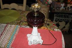 Antique Victorian Oil Kerosene Converted Table Lamp-Purple Glass Milk Glass