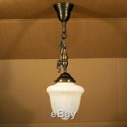Antique Victorian Satin Milk Glass 8 Globe Brass Hanging Ceiling Pendant Light
