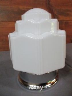 Antique Vintage Art Deco Milk Glass Skyscraper Ceiling Mount Light Fixture Globe