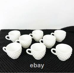 Antique Vintage Fenton Punch / Espresso Cup Set Milk Glass Hobnail 8 Cups
