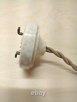 Antique Vintage Hanging Ruffled Milk Glass Pendant Light w Switch Fixture