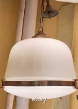 Antique Vintage Old Art Deco Fixture Ceiling Brass Hanging Light Milk Glass Lamp