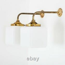 Antique Vintage Opaline White Milk Glass Cube Aged Brass Wall Light