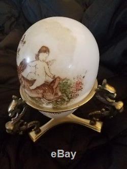 Antique Vintage Painted XL Easter Greetings Blown Milk Glass Egg Cherub Rabbit