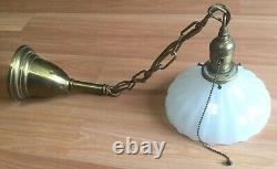 Antique Vtg Brass Pendant Ceiling Hanging Light Fixture White Milk Glass Shade