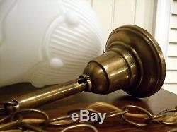 Antique / Vtg Ceiling Light Swag Lamp Fixture Art Deco Milk Glass /Brass Pendant