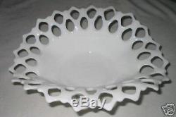 Antique Westmoreland Lattice Lace Cut Milk Glass Art Toy Table Window Candy Bowl