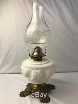 Antique White Milk Glass Ornate Textured Detail Pedestal Oil Lamp 16.5H x 6W