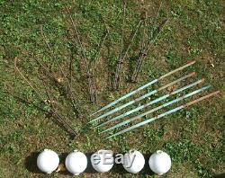 Antique lightning rod set with stands and white milk glass balls. Set of 5 (five)