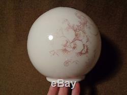 Antique transferware lineart MILKGLASS White Glass GLOBE SHADE GWTW Oil Lamp