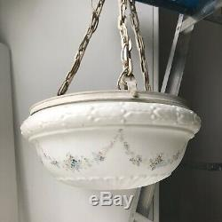 Antique victorian light fixture Hand Painted Milk Glass