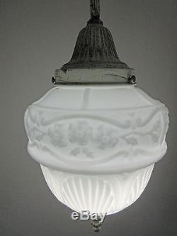 Art Deco, Nouveau Milk Glass Acorn Ceiling Light Fixture Pendant, Schoolhouse