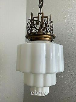 Art Deco Skyscraper Chandelier Ceiling Fixture Milk Glass Shade