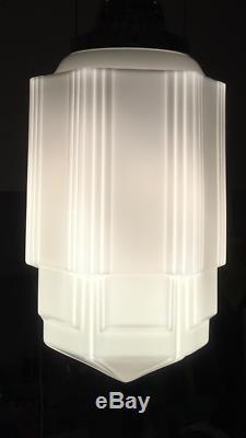 Art Deco Skyscraper Globe Light Fixture Shade Milk Glass 16.5 Tall NICE