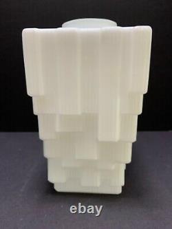 Art Deco Skyscraper SHADE White Milk Glass 11 Ceiling Pendant Globe Light Cover