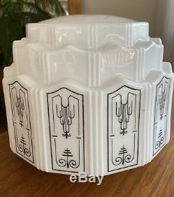 Art Deco Skyscraper White Milk Glass Light Fixture Chandelier Shade 3 Tiers