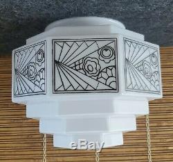Art Deco Skyscraper White Milk Glass Light Fixture Chandelier Shade 4 Tiers