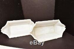 Art Deco Slip shade MILK Glass Wall Sconce Shades Pair painted Cathedral windows