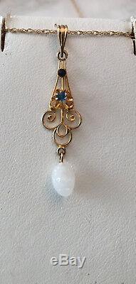 Art Nouveau 10k yg Blue Stone & White Milk Glass Drop Lavalier Pendant 18