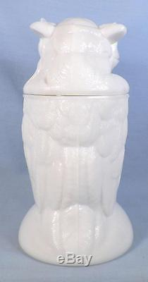 Atterbury Owl Sugar Bowl Milk Glass Early American Pattern Lugs Good Antique