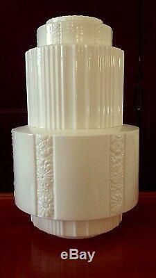 B 20's XLG Deco Ceiling skyscraper Fixture Globe shade Lamp milk glass frankart