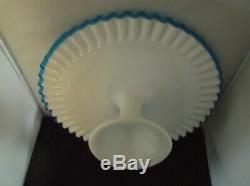 BLUE Crest Pedestal Cake Plate Vintage 1950s Fenton Milk Glass Cake Plate RARE