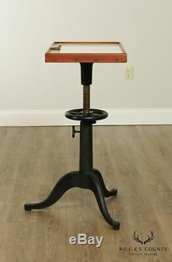Bausch & Lomb Industrial Adjustable Iron Base Optometry Side Table