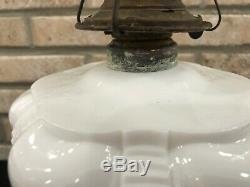 Beautiful Antique Coolidge Drape Oil Kerosene Lamp Waterfall White Milk Glass