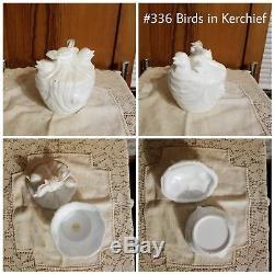 Birds in Kerchief Antique/Vintage Milk Glass Covered Dish