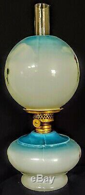 Blue White Milk Glass Miniature Oil Lamp Enamel Paint Complete 1880's P&A burner