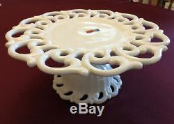 Brand New! Vintage Fostoria Milk Glass Monroe Pattern Lace Pedestal Cake Stand