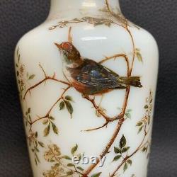 C 1880 Marked Bohemian Vaselin HARRACH Opaline Vase Gilt Enamel Birds & Flora
