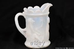 C 1890 DARWIN AKA MONKEY Valley Glass MILK GLASS Cream Pitcher