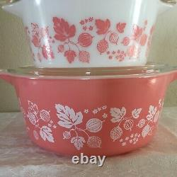 COMPLETE Pyrex PINK GOOSEBERRY CASSEROLE SET # 471, 472, 473, 474, 475 with Lids