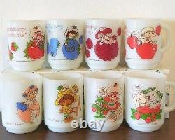 COMPLETE VINTAGE STRAWBERRY SHORTCAKE FIRE KING Milk Glass Mugs 8 Types Rare