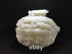 Ca 1850 Vallerysthal, Opaline / Milk Glass, Walnut & Fly Covered Candy Dish, Exc