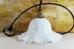 Ceiling Light Antique Milk Glass Pendant Lampshade White Pressed Glass