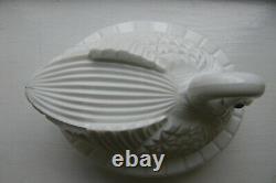 Challinor & Taylor Milk Glass Block Swan Covered Dish 6 1/4 high x 7 7/8 long