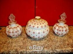 Charleton Hand Painted Dresser Set Perfume Bottles & Powder Jar, LABEL