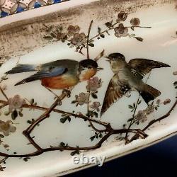 Circa 1880 Marked Bohemian Vaseline HARRACH Bowl Vase Gilt Enamel Birds & Flora