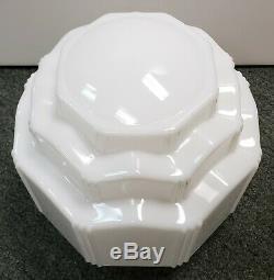 Circa 1930 Art Deco Milk Glass Three Tier Skyscraper Pendant Light Fixture