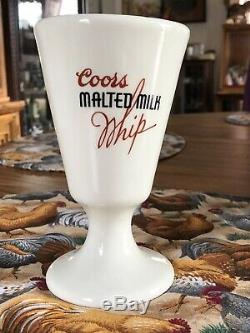 Coors Malted Milk Glass, White With Red Label In Perfect Condition