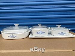 Corningware Blue Flowers Cornflower Casserole Baking Dish With Lids A-1-b Set